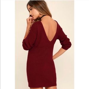 LuLus Maroon Sweater Dress